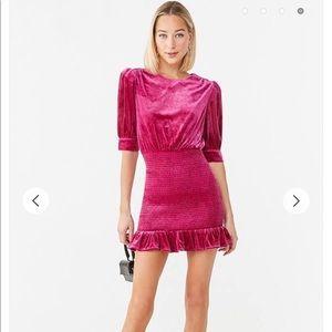 Pink velvet smocked sexy dress